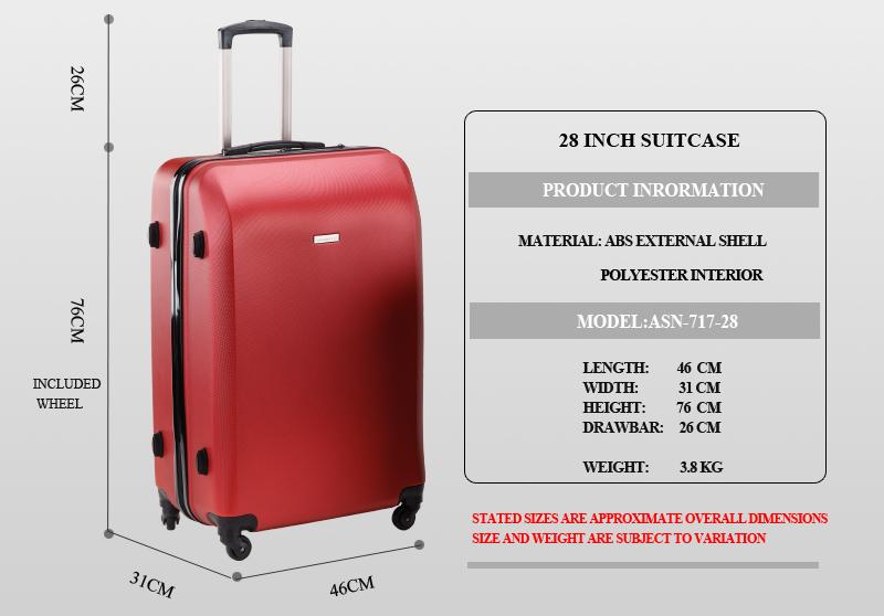 28 Inch 100l Large Luggage Trolley Travel Bag 4 Wheels